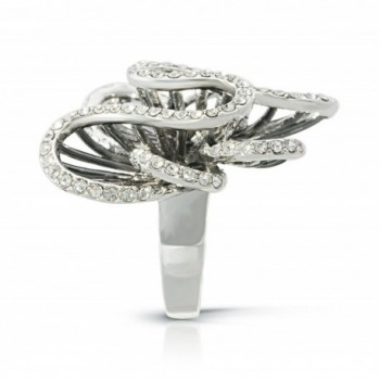 JanKuo Jewelry Cocktail Crystal Rhodium