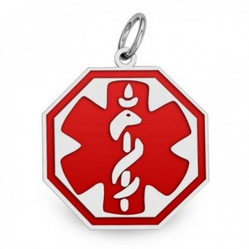 Sterling Silver Octagon Medical ID Charm or Pendant W/ Red Enamel - Available in 4 Sizes - CH11EF6DAN5