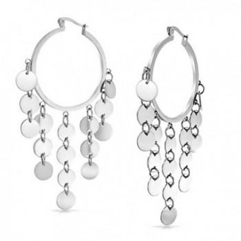 Bling Jewelry Bohemian Disc Dangle Chandelier Stainless Steel Hoop Earrings - CR11FKT5IRD