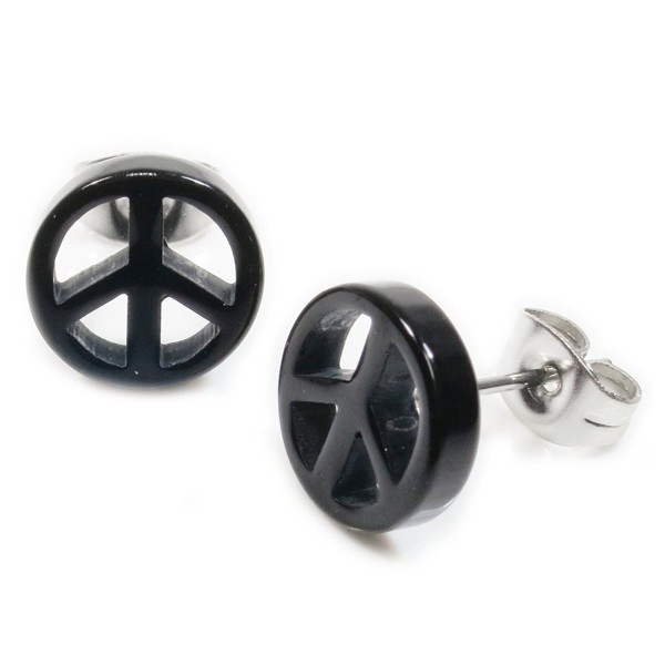 Pair Black Acrylic Peace Sign Stainless Steel Post Stud Earrings 10mm - CX11RBZ0QMB