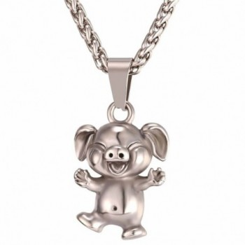Cute Piggy Pendant with 22 Inch Chain Stainless Steel/Black Gun/18K Gold Plated Pet Series Jewelry Pig Necklace - C017Y2H3OKT