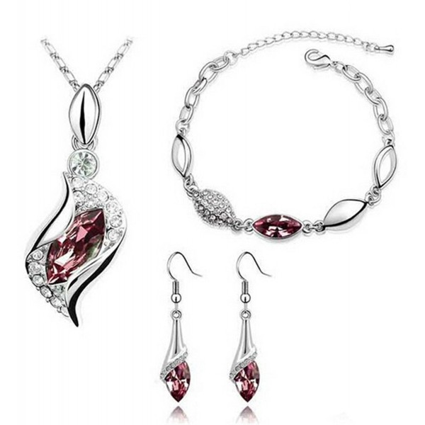 Cougar's Choice Platinum-plated Fashion Jewelry Set Necklace Bracelet Earrings with Crystal Element - grapes - CN11VU4C2WB