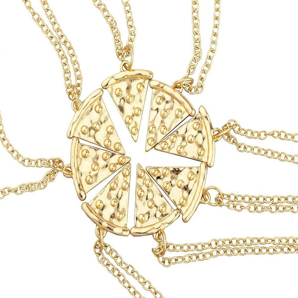 Lux Accessories Goldtone BFF Best Friends Forever Pizza Pie Slice Necklace 8PC - CY12I3GWW37
