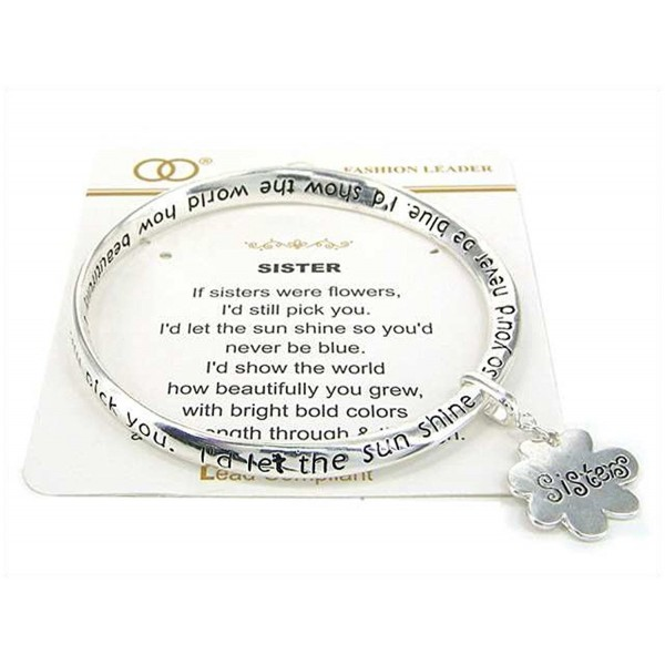 Silver-tone Sisters Twist Bangle Bracelet with Sisters Charm by Jewelry Nexus - C511EH7VY7H
