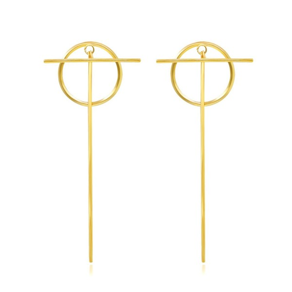 Geerier Gold Dangle Earrings Circle Ring Links Statement Earrings for Women - Circle (Dangling) - CD1804KYSM5
