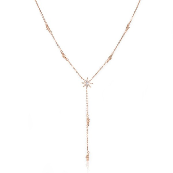 Star Drop Y Shaped Lariat Necklace Plated with 14K Rose Gold / White Gold - CX182XS8DK4