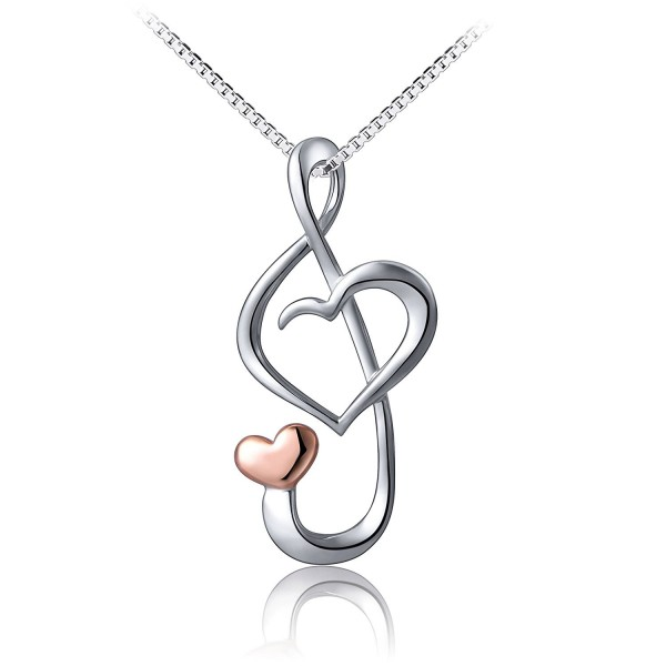 S925 Sterling Silver Musical Note Love Heart Pendant Necklace - Box Chain 18 inches - CG12NZ7DYZI