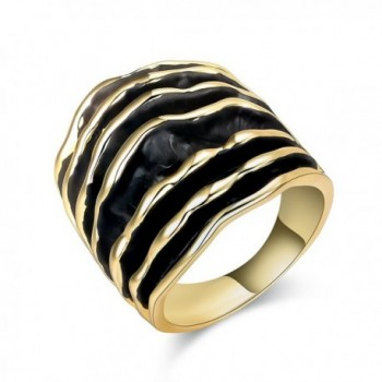Dnswez Women 2 Tone Enamel Statement Rings Black and Gold Wave Pattern Rings Width: 25mm - Yellow - C61887ROQXW
