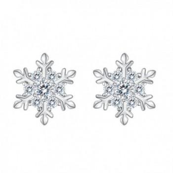 EVER FAITH 925 Sterling Silver Cubic Zirconia Winter Snowflake Flower Elegant Stud Earrings Clear - C0188NG24Y4
