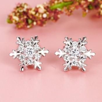 EVER FAITH Sterling Zirconia Snowflake in Women's Stud Earrings