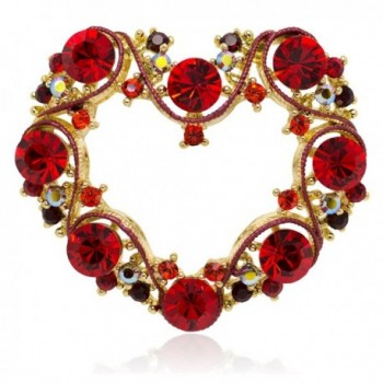 Akianna Gold-tone Swarovski Element Crystals Fancy Valentine Heart Pin Brooch - CX12C6ECV83