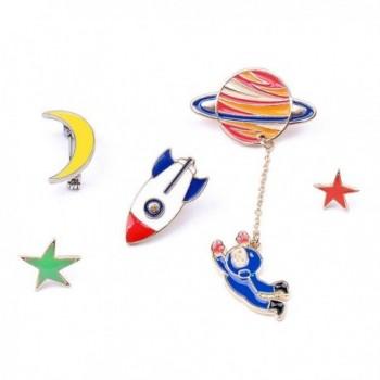 Herinos 5Pcs Cartoon Badges Outer Space Lapel Enamel Pins Set Brooch Moon- Star- Spaceship- Astronaut - CU186L6KKY8