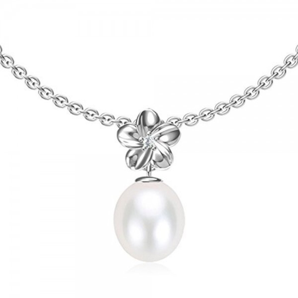 """Swhite Sterling Freshwater Cultured Pearl Pendant Necklace - """" White """" - CI12MX5KXPY"""