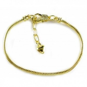 Starter Gold Plated European Lobster Clasp (Screw Off End) Snake Chain Bracelet Fit European Beads - CD11D13MSZ5