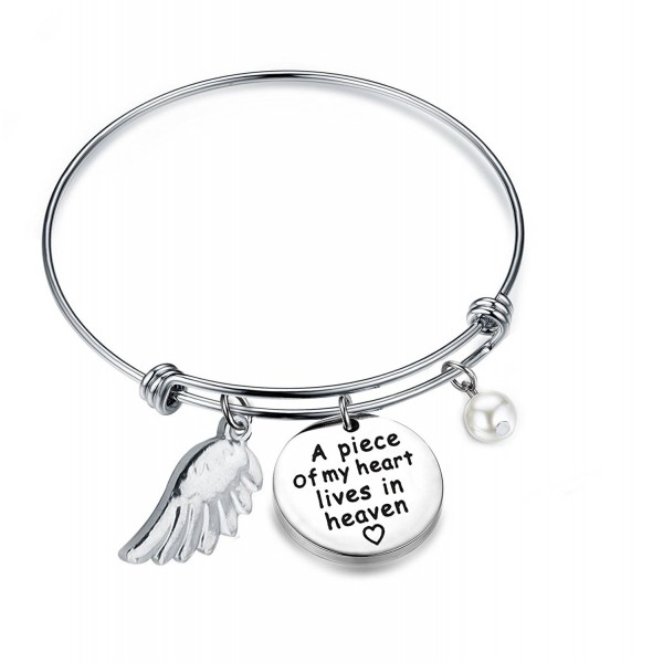 Zuo Bao Memorial Jewelry A Piece Of My Heart Lives In Heaven Adjustable Bangle with Angle Wing - Bangle - C5184KNL9QO