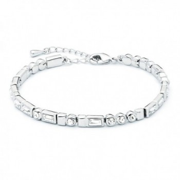 MYJS Morse Code Rhodium Plated I love You Tennis Bracelet with Swarovski Crystals - 17+5cm Extender - CV1230MALB3