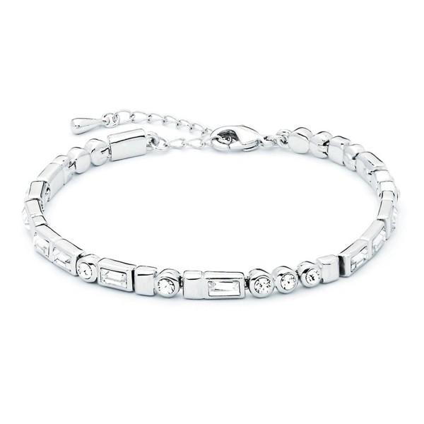 MYJS Morse Code Rhodium Plated I love You Tennis Bracelet with Swarovski Crystals - 17+5cm Extender - CV1230MALB3