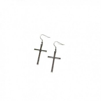 Large Cross Silver Toned Dangle Earrings - CY12DA45WV5