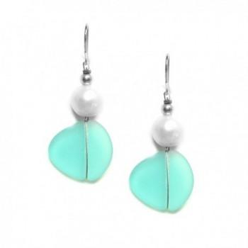 Solares Silvertone Aqua Blue Sea Glass Style Earrings with Accent - CJ124QSSA5T