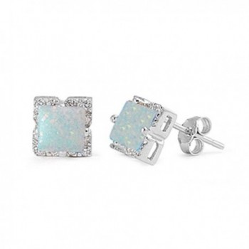 Halo Stud Post Earring Princess Cut Square Lab Created White Opal Round CZ 925 Sterling Silver - CD12MXOELKW