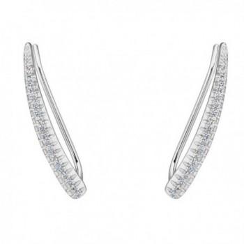 EVER FAITH 925 Sterling Silver CZ Elegant Leaf Sweep Ear Cuff Wrap Hook Earrings 1 Pair - Clear - CT120TLWLGH