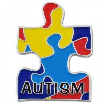 """PinMart's Autism Awarness Multi Color Puzzle Piece Enamel Lapel Pin 1""""H x 3/4""""W - C8119PELYSL"""