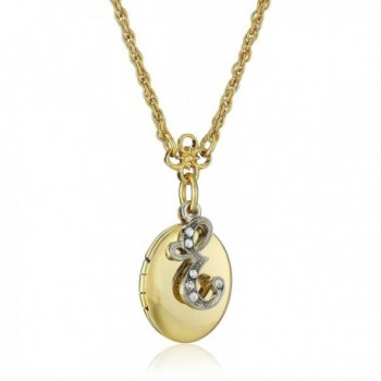 "1928 Jewelry Gold- and Silver-Tone Crystal Initial Locket Necklace- 16"" + 3"" Extender - C9122UV8O65"