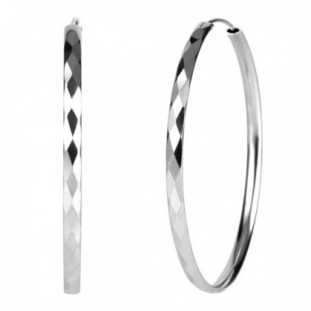 925 Sterling Silver Diamond-Cut Hoop Earrings- 3mm Wide- 30mm-60mm Diameter - CZ11ZY3JV5Z