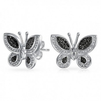 Bling Jewelry Simulated Onyx Butterfly Animal CZ Stud earrings Rhodium Plated 17mm - CB11YE12VMD