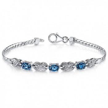 London Blue Topaz Bracelet Sterling Silver 1.75 Carats Oval Cut - C1111PMCS8V