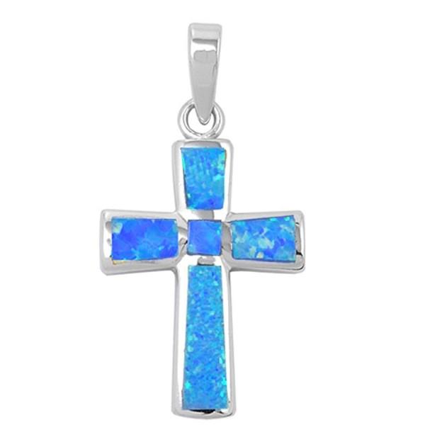 Wide Cross Lab Created Opal .925 Sterling Silver Pendant Blue or White Opal - Lab Created Blue Opal - CI1264V5YRT
