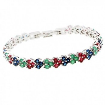 HERMOSA Fashion Bracelet Ruby Emerald Sapphire Peridot White Topaz Plated Silver Bracelets 7 inch - C512NH89SMO