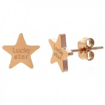 ELBLUVF Stainless - steel Rose gold Plated Lucky Star Earrings - C612GV8F2VX