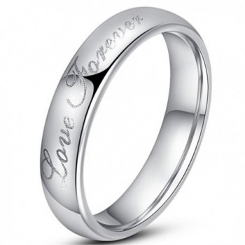Womens 4mm Vintage Tungsten Carbide White Ring Engraved Love Forever Silver Dome Band For Her - CV180E88LDW