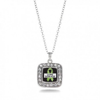 Lyme Disease Awareness Classic Silver Plated Square Crystal Necklace - CN11KEPFAY3