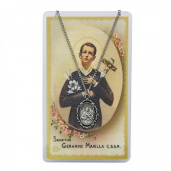 "Adult Oval St Gerard Pewter Medal Necklace- 18"". Prayer Card. - CA11CE6IU89"