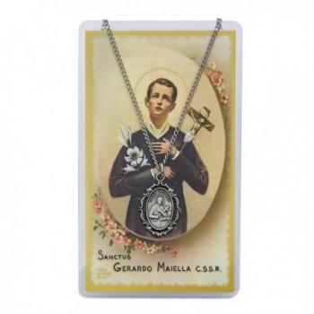 "Adult Oval St Gerard Pewter Medal Necklace- 18"". Prayer Card. - CA11CE6IU89"