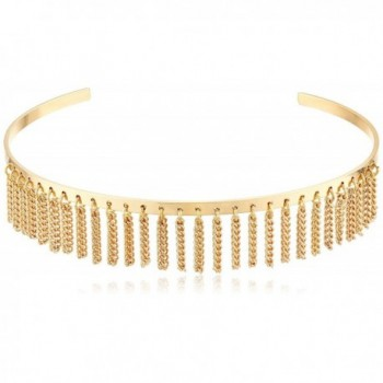 Steve Madden Womens Open Collar with Chain Fringe Choker Necklace - Gold - CN17YIC42HZ