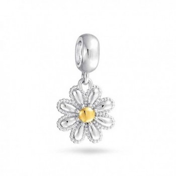 Bling Jewelry Gold Plated Daisy Flower Dangle Bead Charm .925 Sterling Silver - CQ11K39DN31