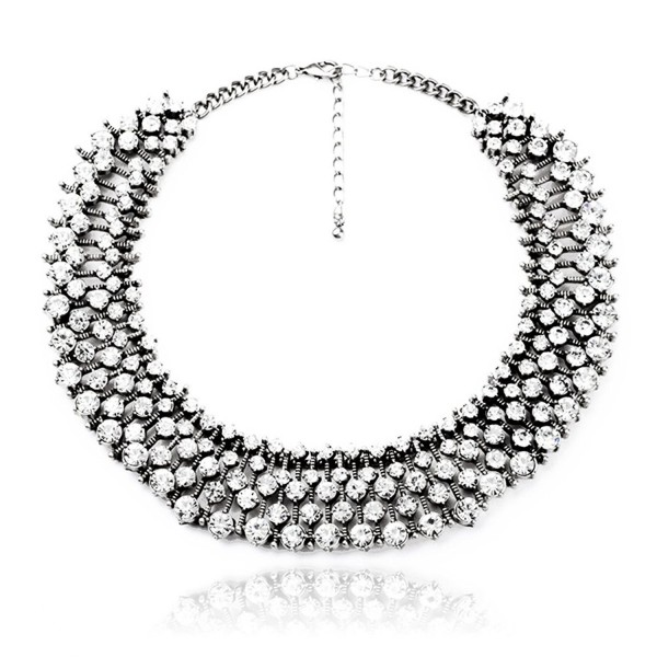 Fun Daisy Grand UK Princess Kate Middleton Hot Silver Tone Rhinestone Fashion Necklace with Free Earrings - C411Q4DHQ9R