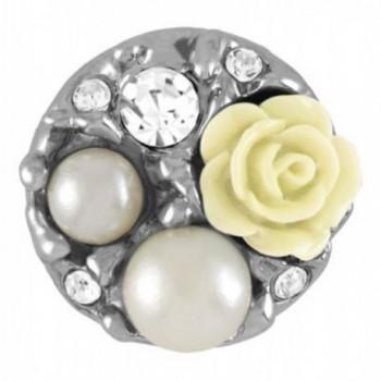 Ginger Snaps PEARL GARDEN - CREAM SN31-28 (Standard Size) Interchangeable Jewelry Snap Accessory - CF12BNZTH5B