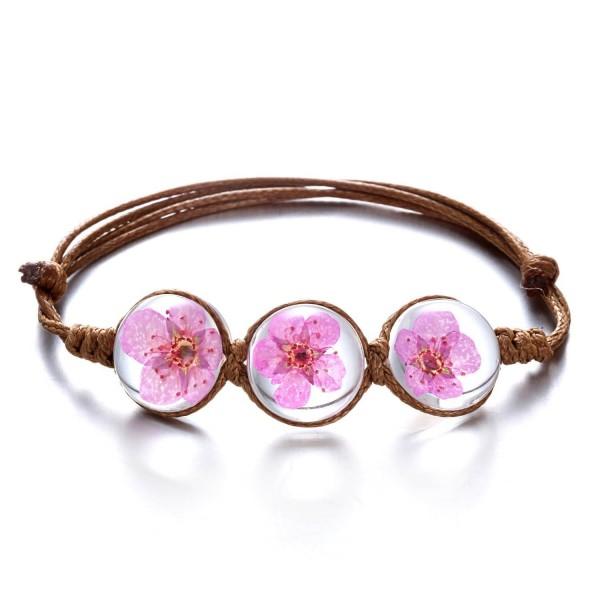 Rinhoo Handmade Gemstone Adjustable Bracelet - Rose - CG1832EDMO6