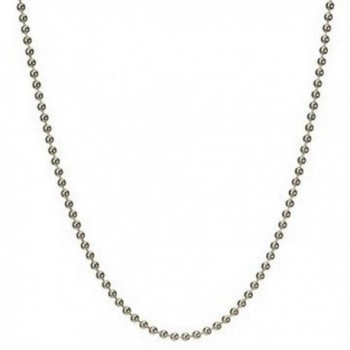 Solid Round Link Ball Beaded Chain Necklace- Bracelet Italian .925 Sterling Silver 7-36 inches (15 Inches) - C611F9O0APX