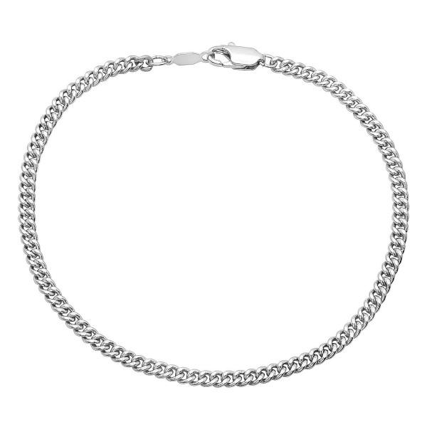 3mm Rhodium Plated Flat Cuban Link Curb Chain + Microfiber Jewelry Polishing Cloth - C412JXAVCOL