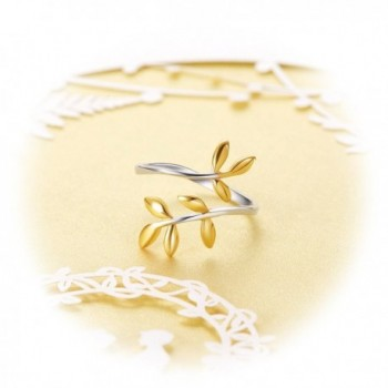 SHEGRACE 925 Sterling Silver Leaf Ring- Cuff Ring with 18K Gold Plated Laurel Wreath- Holiday Gift - Gold - CG183GSOCZQ