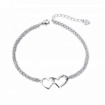 S925 Sterling Silver I Love U Forever Love Heart Double Chain Bracelets-7+2 inches - CY186H552CO