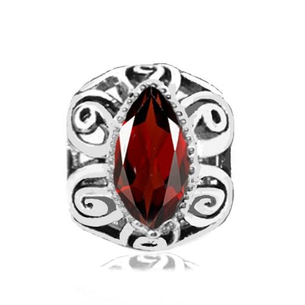 Jovana Sterling Silver Filigree Charm with January Birthstone Red Garnet- fits Pandora Braceet - CF116CU4Y1P