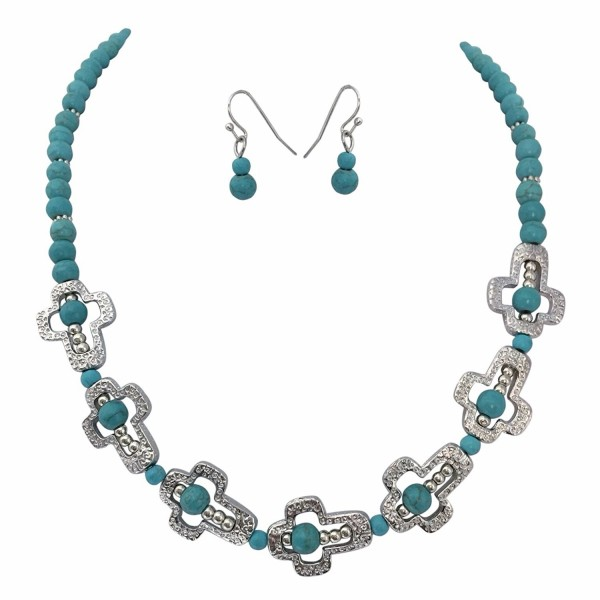Simulated Turquoise Beaded Sideways Cross Silver Tone Necklace Earrings Set - CH11Y2NPR51