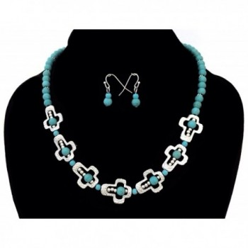 Simulated Turquoise Sideways Necklace Earrings