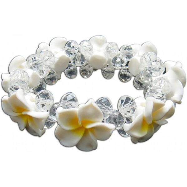 Plumeria Fimo Flower Bling Hawaiian Bracelet - White-Yellow - C712DJVX1FJ